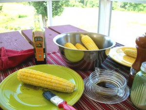 corn on the cob brushed with pumpkin seed oil