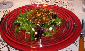Salad with Pumpkin Seed Brittle
