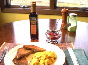 scrambled eggs and pumpkin seed oil, really good!