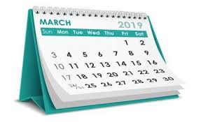 calendar page for March 2019